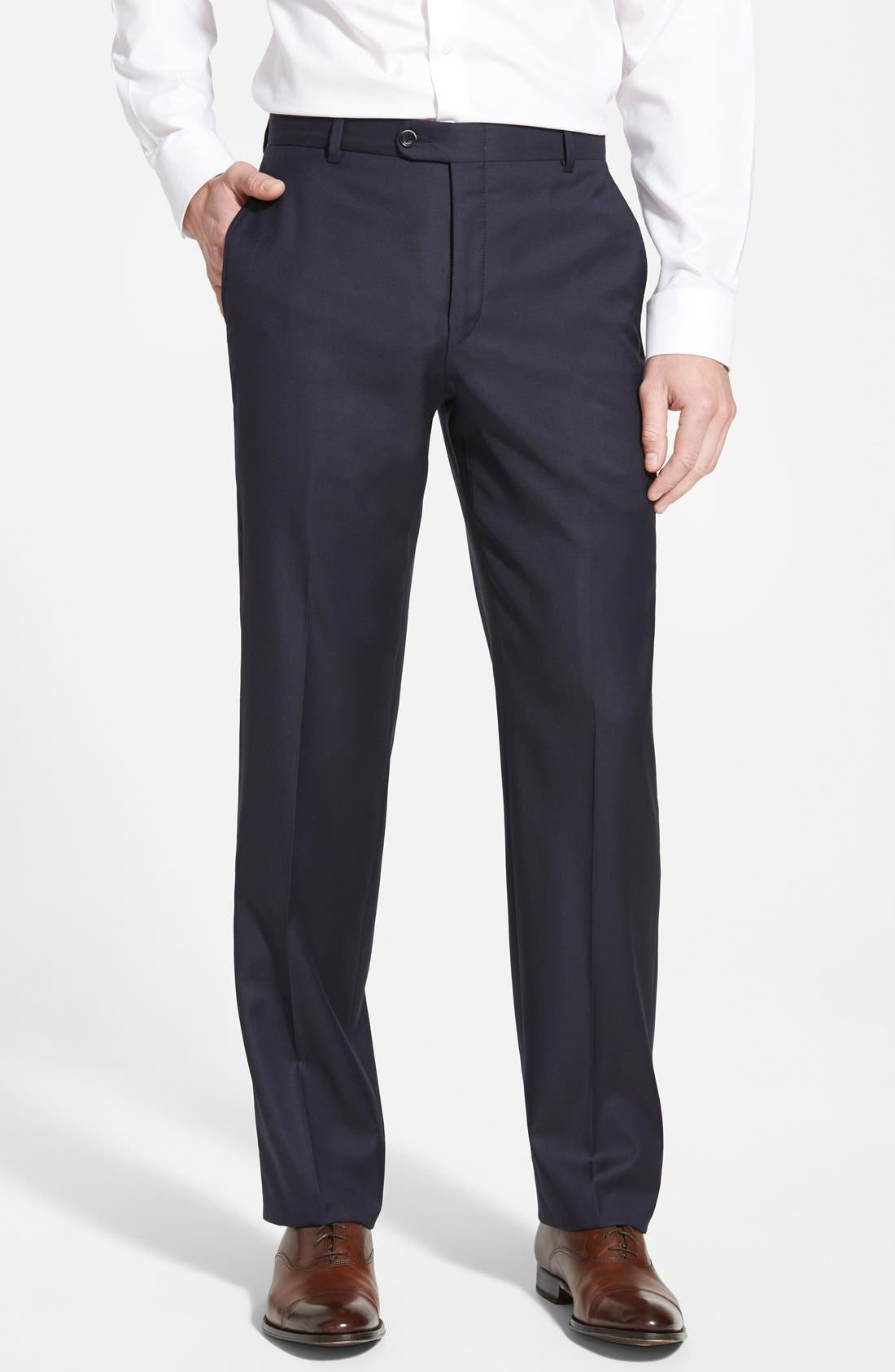 Classic B Fit Flat Front Wool Trousers,                         Main,                         color, Navy