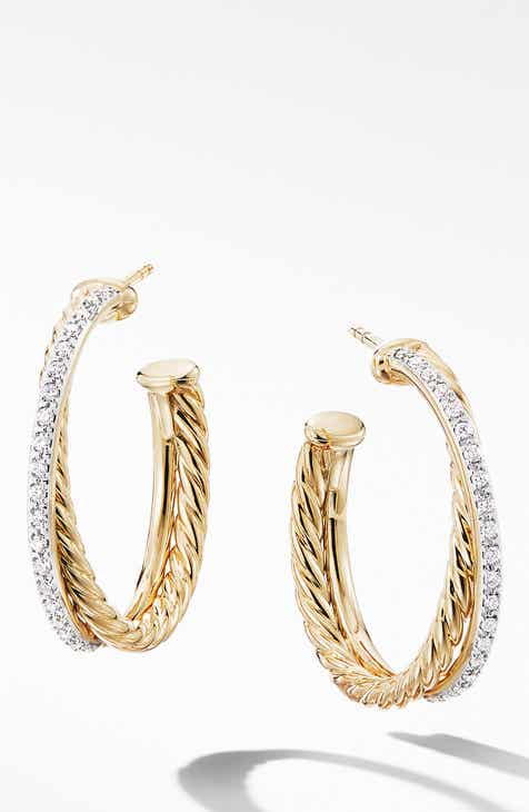 29aa25206bd6d David Yurman Medium Crossover Hoop Earrings with Diamonds