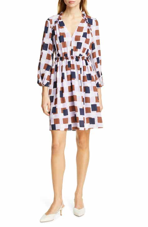 kate spade new york geo squares long sleeve dress by KATE SPADE NEW YORK