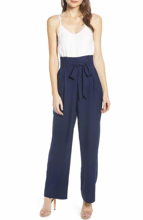 Topshop Stripe Tie Waist Wide Leg Crop Linen Blend Jumpsuit by TOPSHOP