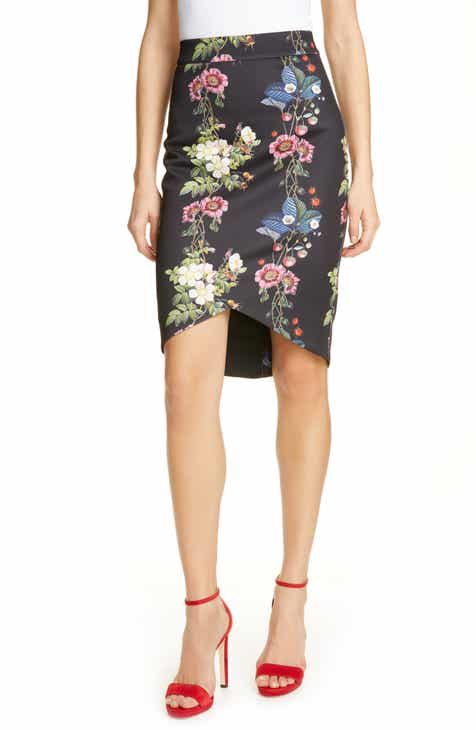 Versace Colorblock Mixed Print Pleated Midi Skirt by VERSACE