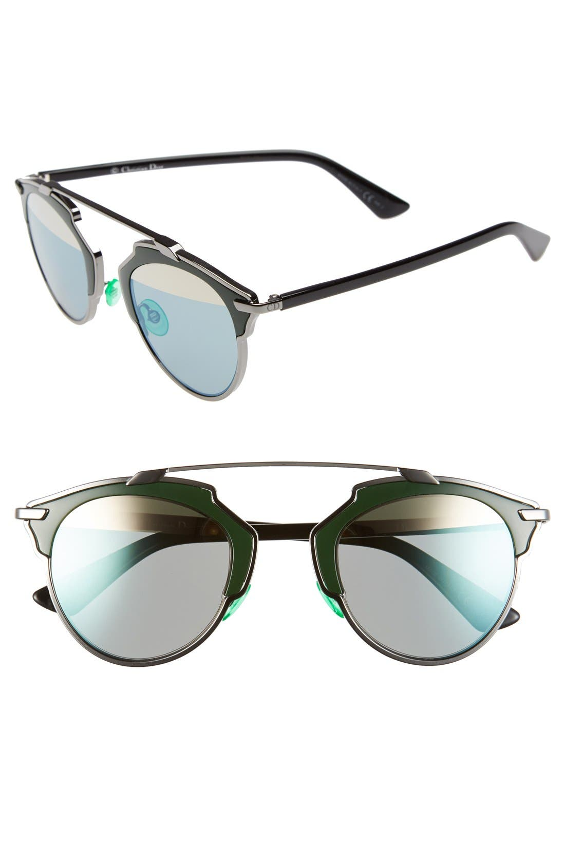 So Real 48mm Brow Bar Sunglasses,                         Main,                         color, Ruthenium/ Green/ Black