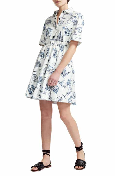 maje Paris Under the Palm Trees Print Cotton Dress by MAJE