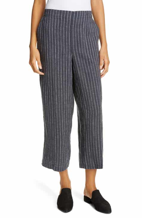 4ad29c28a46b2b Eileen Fisher Stripe Linen Crop Pants (Regular & Petite)