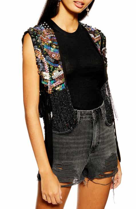 Topshop Bead Fringe Vest by TOPSHOP