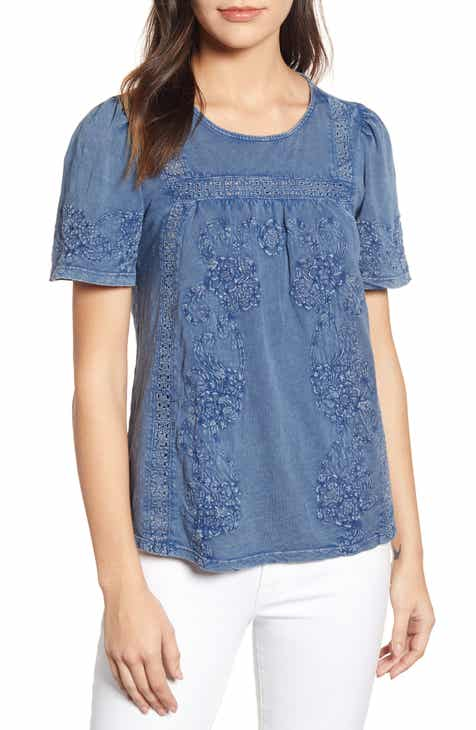 db206fe30a88 Lucky Brand Embroidered Eyelet Trim Peasant Top