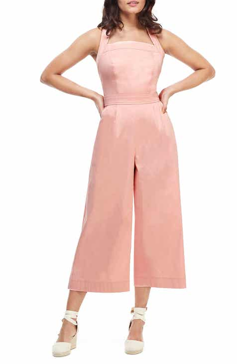 Gal Meets Glam Collection Stephanie Cross Strap Cotton Jumpsuit