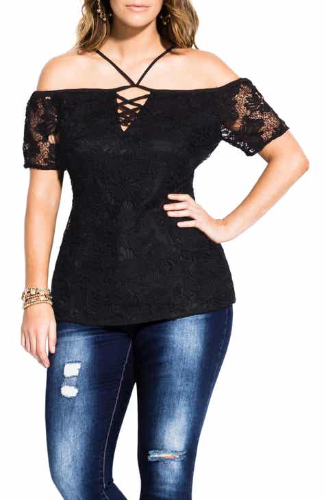 de91a8859bc City Chic Lace-Up Detail Cold Shoulder Top (Plus Size)