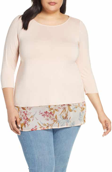 ebd8387f5b Vince Camuto Mixed Media Top (Plus Size)