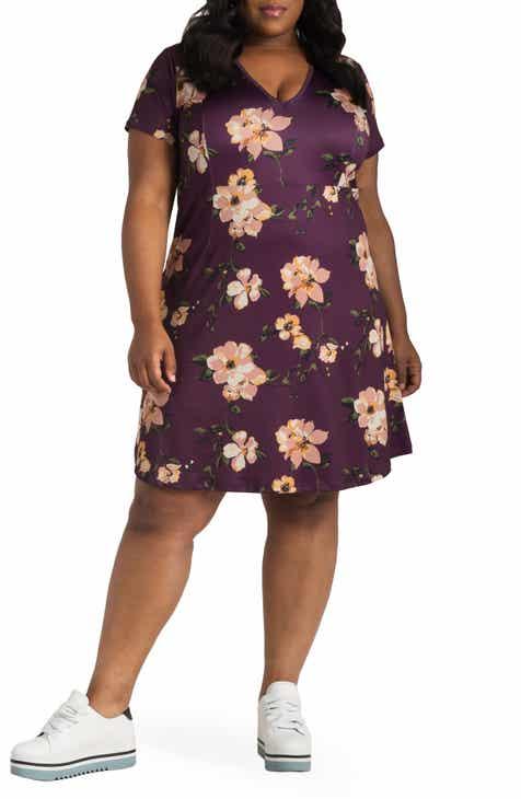 Poetic Justice Sapphire Floral Print Dress (Plus Size)