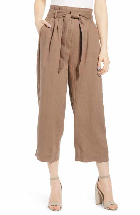 Reformation Calabria High Waist Crop Wide Leg Linen Pants by REFORMATION