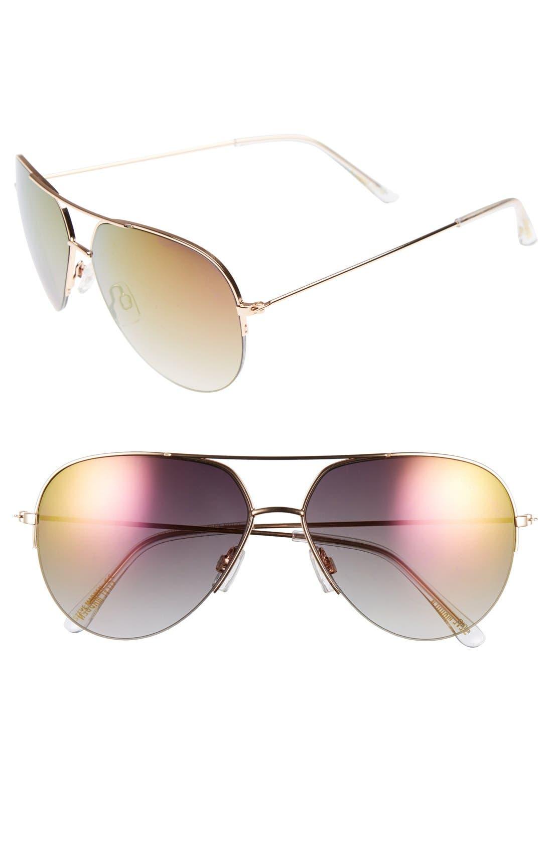 Main Image - Steve Madden Semi Rimless 60mm Mirrored Aviator Sunglasses