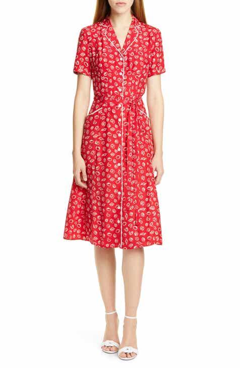 HVN Maria Shell Print Silk Pajama Midi Dress (Nordstrom Exclusive)