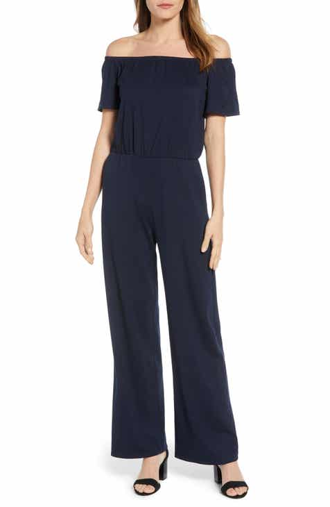 e155558cde Gibson x Living in Yellow Iris Off the Shoulder Ponte Knit Jumpsuit  (Regular   Petite) (Nordstrom Exclusive)