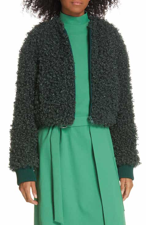 c456b998ea Tibi Curly Faux Lamb Fur Crop Jacket