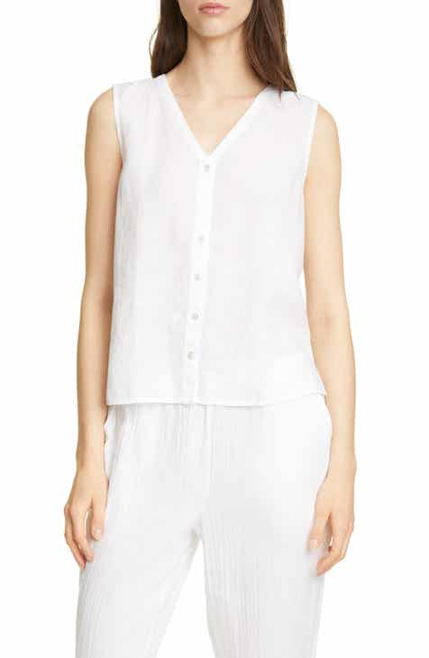 2121cb83297 Eileen Fisher V-Neck Organic Linen Top (Regular   Petite)