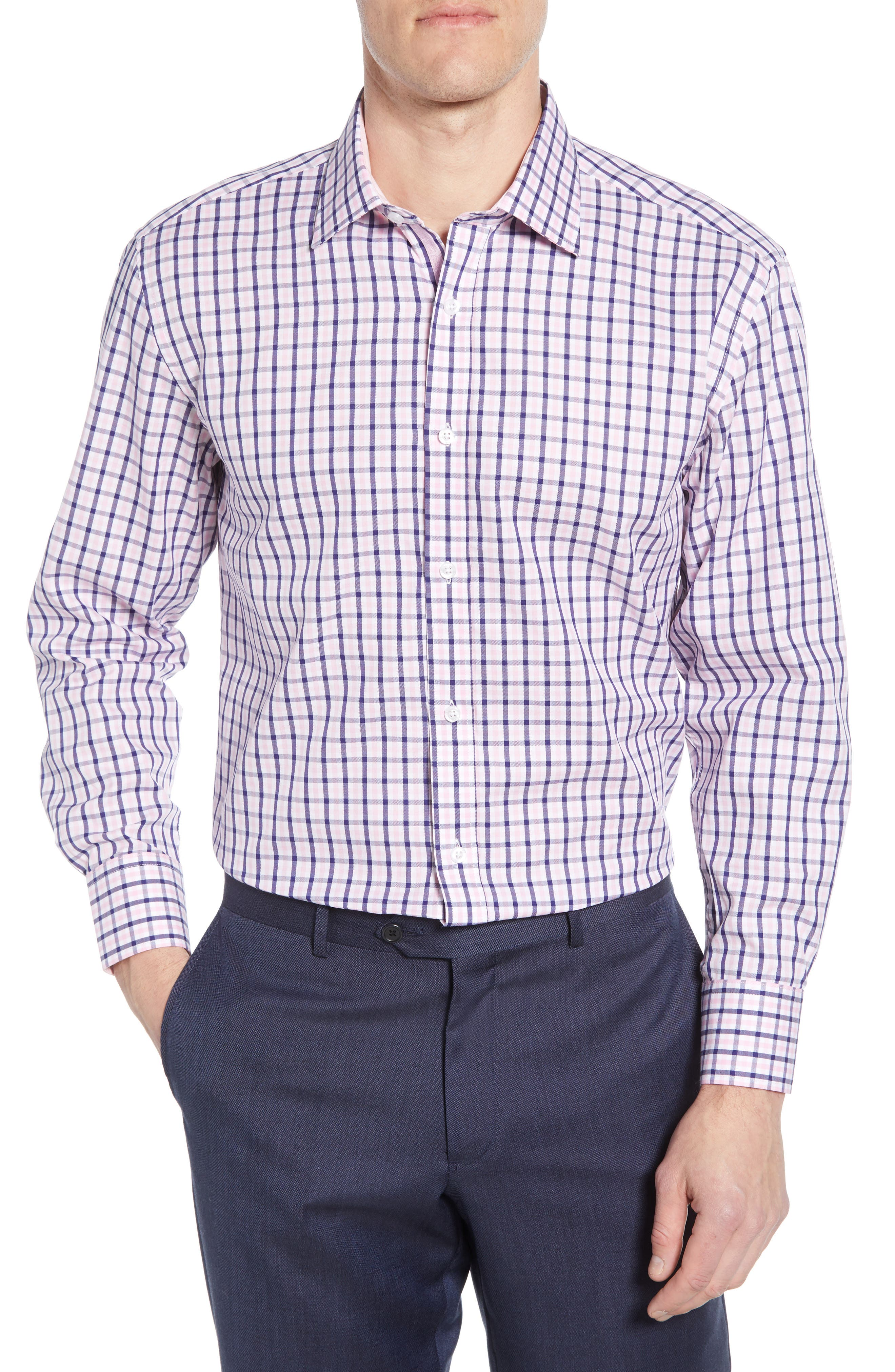 Clothing, Shoes & Accessories Lovely Lorenzo Uomo Mens Dress Shirt 17 34-35 Purple Blue Trim Fit Checkered Collar Men's Clothing