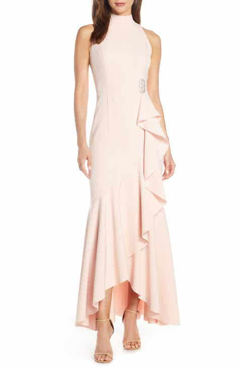 4421882783cf Vince Camuto Laguna Mock Neck Crepe Gown