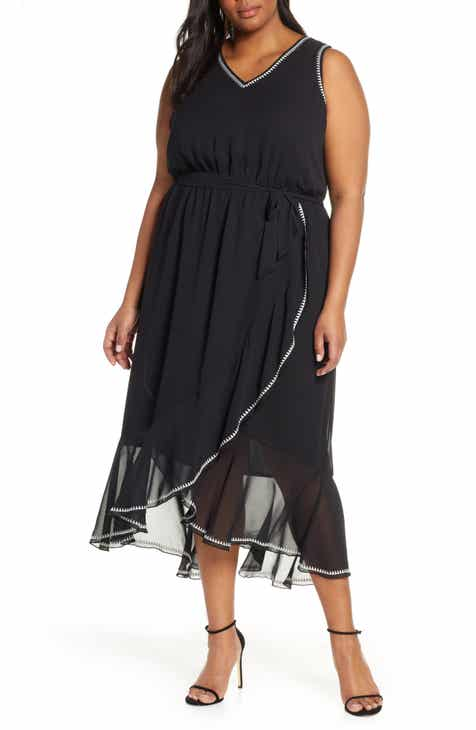 adc2ed45752 Vince Camuto Embroidered Ruffle Belted Chiffon Dress (Plus Size)