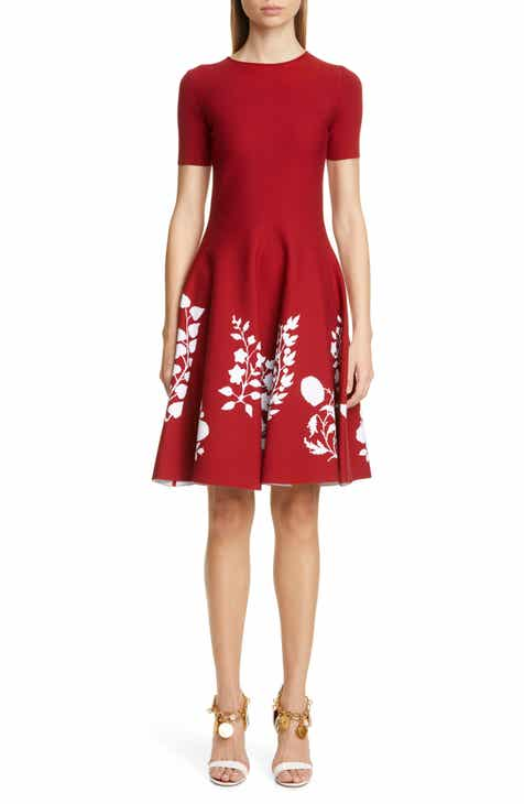 16d7df98ea917 Oscar de la Renta Floral Fit   Flare Sweater Dress