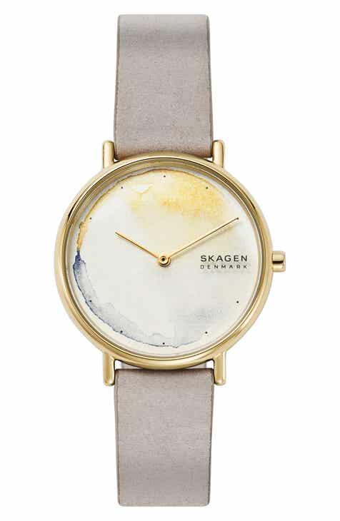 abef6a61c Skagen Signatur Leather Strap Watch, 36mm