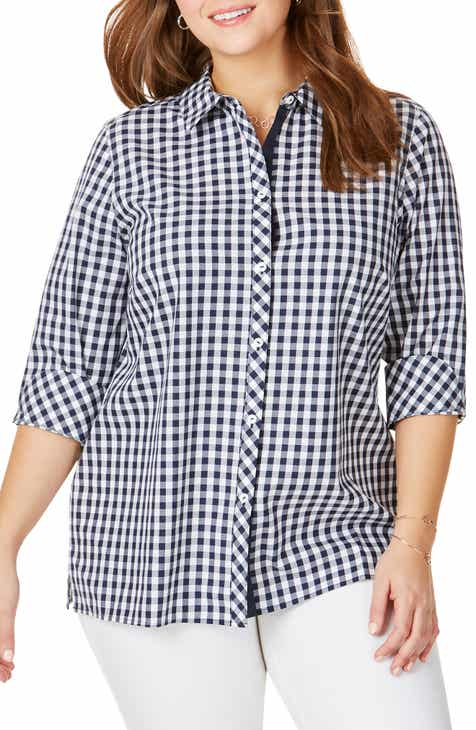 f86ec70ee Foxcroft Morgan Gingham Cotton Blouse (Plus Size). $96.00. Product Image