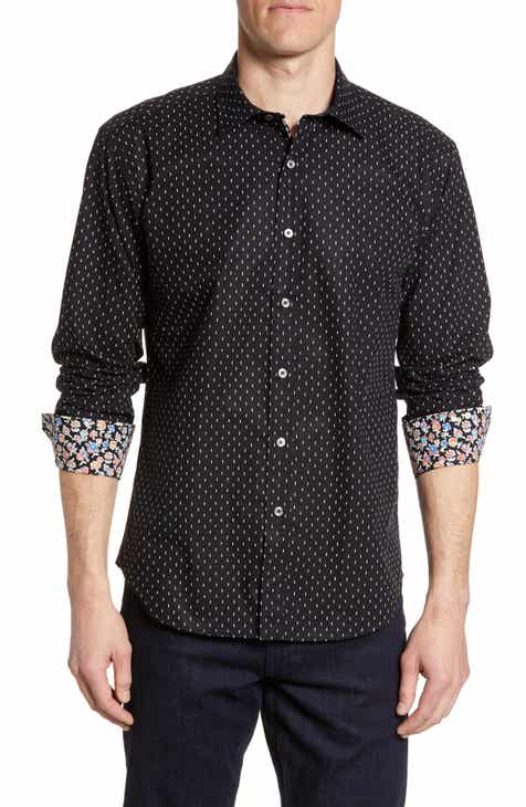 Bugatchi Shaped Fit Dash Print Sport Shirt
