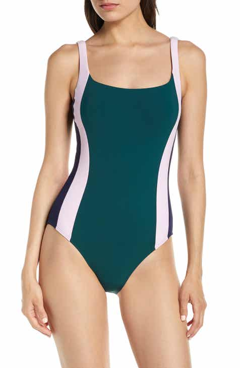bf4cfcf2a2 Tory Burch Colorblock Stripe One-Piece Tank Swimsuit