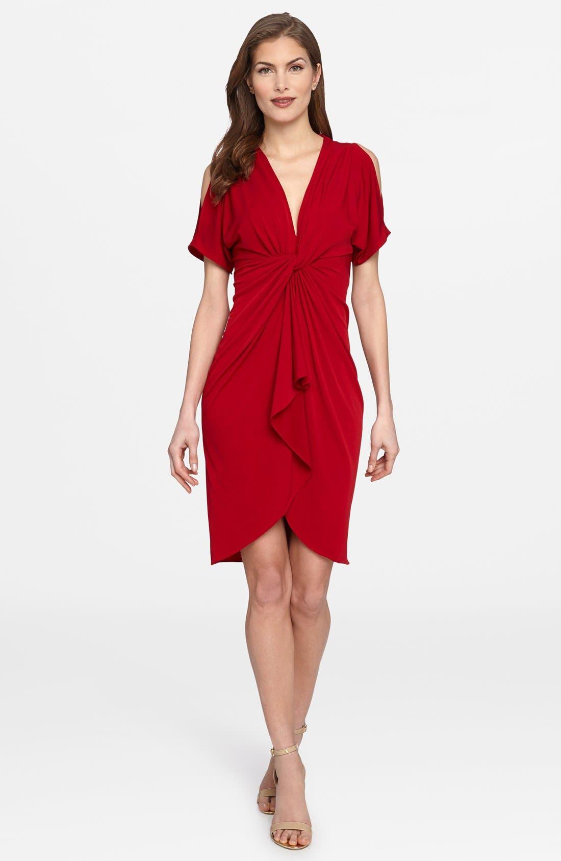 'Emily' Cold Shoulder Twist Front Dress,                             Main thumbnail 1, color,                             Boston