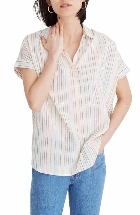 Madewell Rainbow Stripe Central Popover Shirt