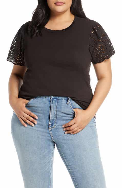 7d077eb500d Bobeau Lace Flounce Sleeve Stretch Cotton Jersey Top (Plus Size)