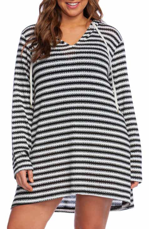 b1cda518165 La Blanca Slouchy Hooded Sweater Cover-Up Tunic (Plus Size)