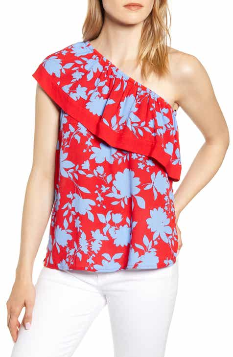 cfb84124c10 Ibiza One-Shoulder Ruffle Top (Regular & Petite)