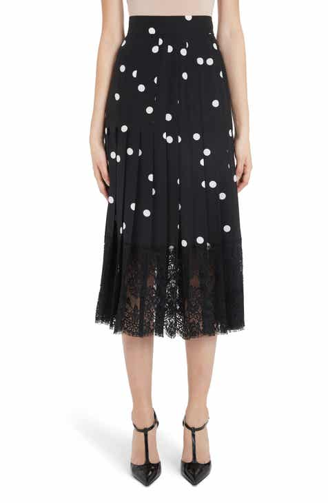 eccdcc2aa2e3 Dolce&Gabbana Lace Bottom Dot Print Midi Skirt