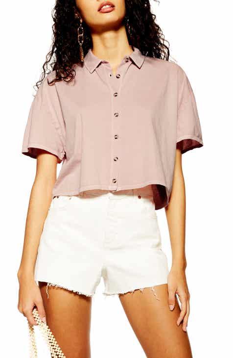 Topshop Boxy Button Through Polo Shirt