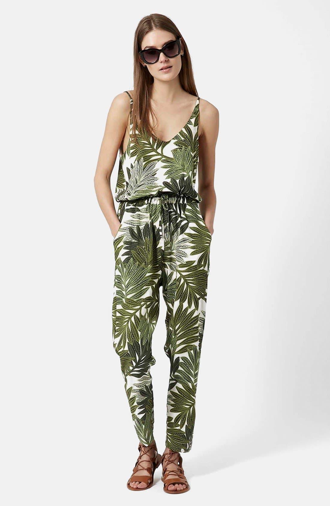 Palm Leaf Print Jumpsuit,                         Main,                         color, Green Multi