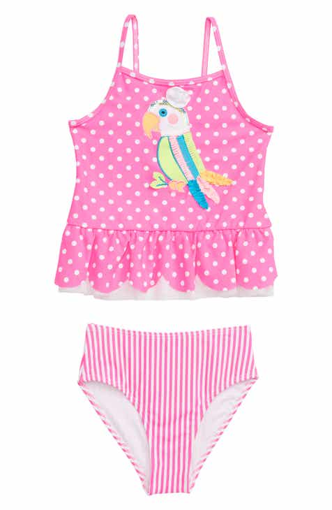 5139deca56dbc Flapdoodles Parrot Appliqué Polka Dot Tankini Two-Piece Swimsuit (Toddler  Girls & Little Girls)