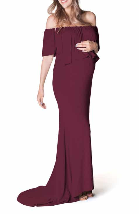 34c37e935 Bun Maternity Simply Stunning Off the Shoulder Maternity Maxi Dress