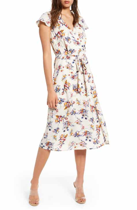 cf37e42f7 Row A Floral Surplice Midi Dress