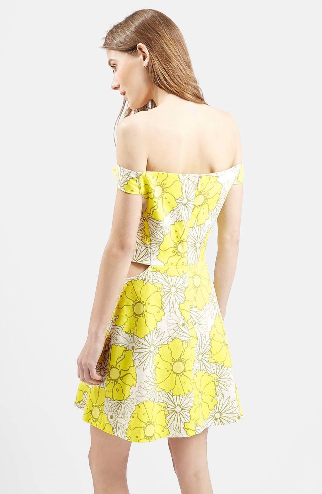 Alternate Image 2  - Topshop 'Abigail' Floral Print Off the Shoulder Dress