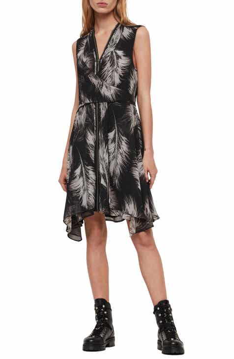b23f28594a37b ALLSAINTS Jayda Feathers Zip Front Dress