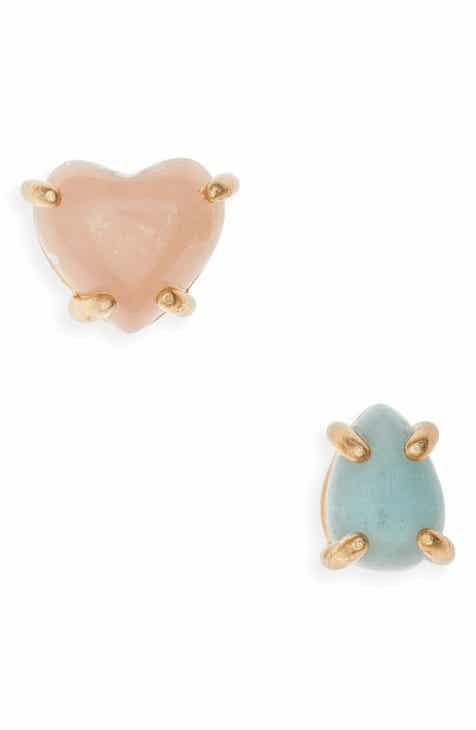 Madewell Mismatched Heart Rock Stud Earrings