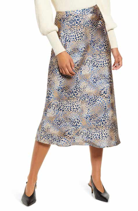 MOON RIVER Animal Print Satin Midi Skirt