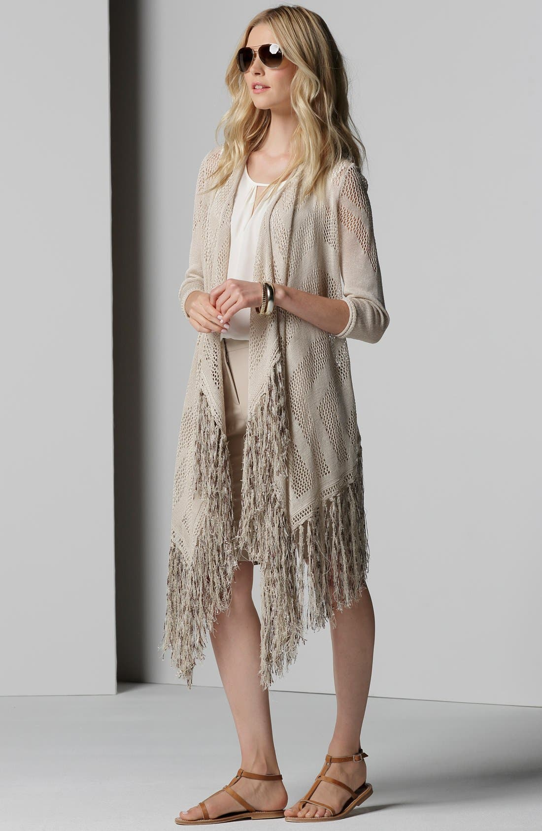 Long Textured Fringe Cardigan,                             Alternate thumbnail 4, color,                             Porcini