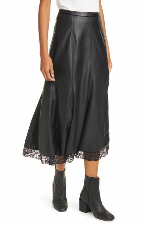 Free People Film Noir Faux Leather Skirt