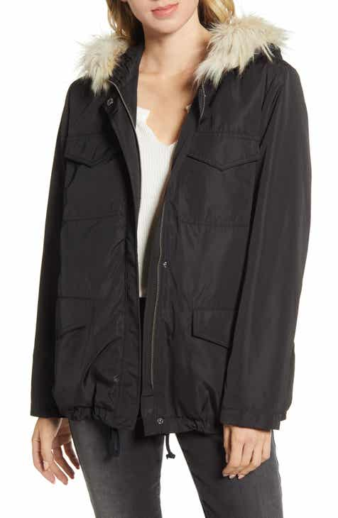 BB Dakota 6th Element Faux Fur Trim Hooded Coat