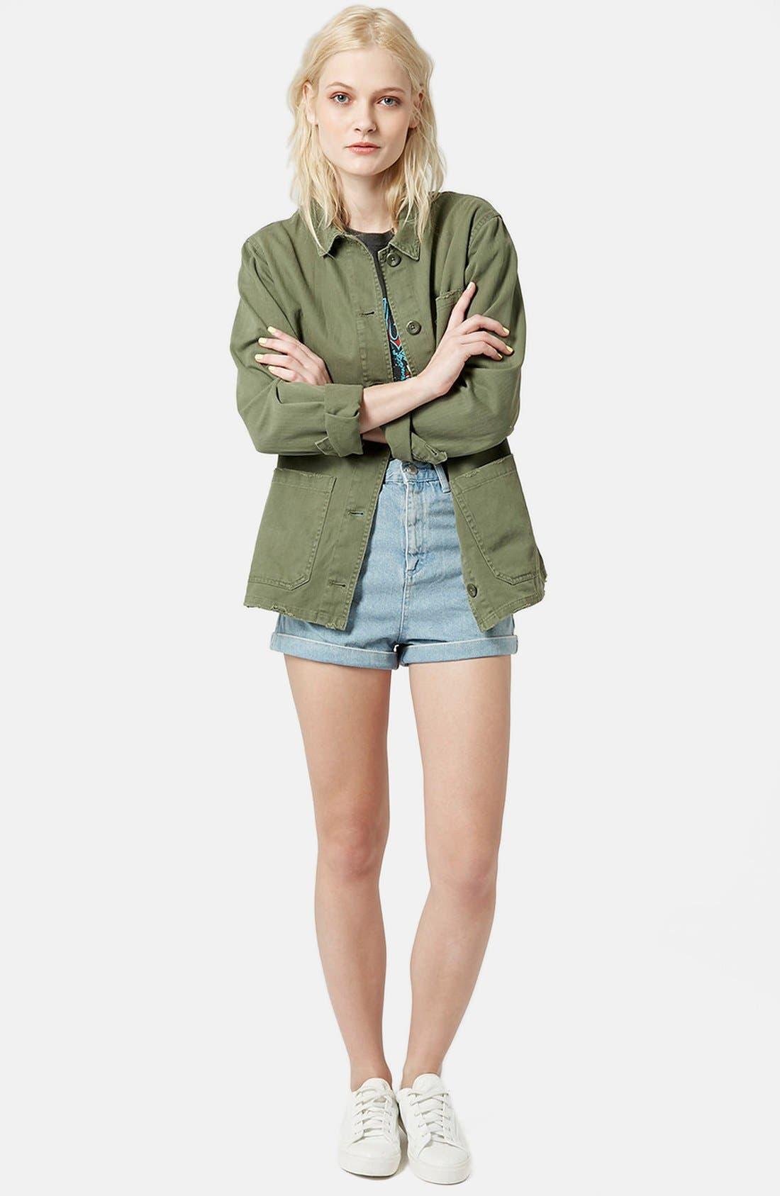 'Saunders' Long Shirt Jacket,                             Alternate thumbnail 5, color,                             Olive