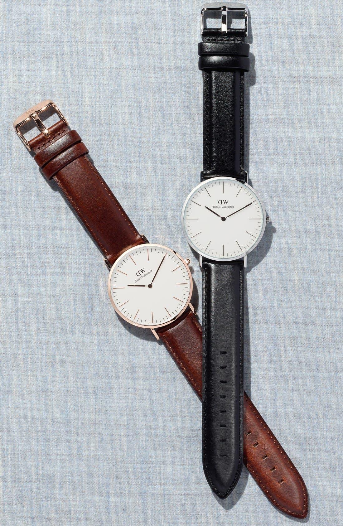 Alternate Image 4  - Daniel Wellington 'Classic Sheffield' Leather Strap Watch, 40mm
