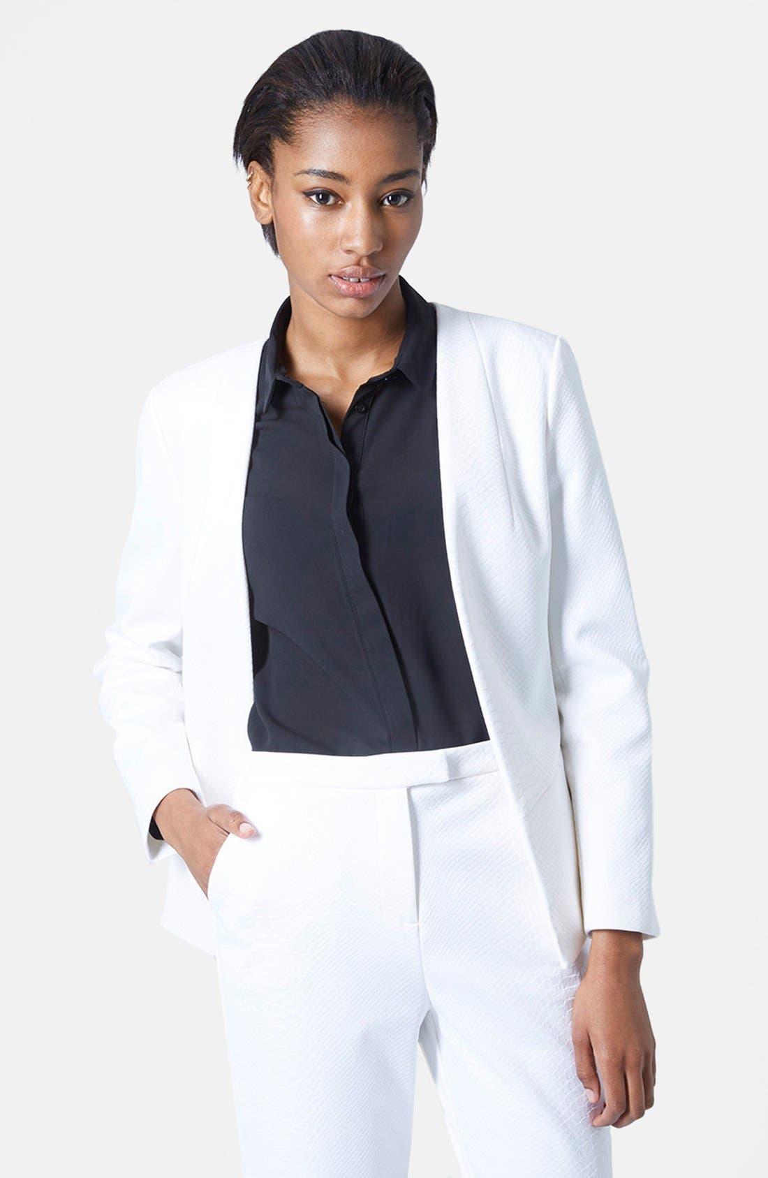 Snakeskin Blazer,                         Main,                         color, White