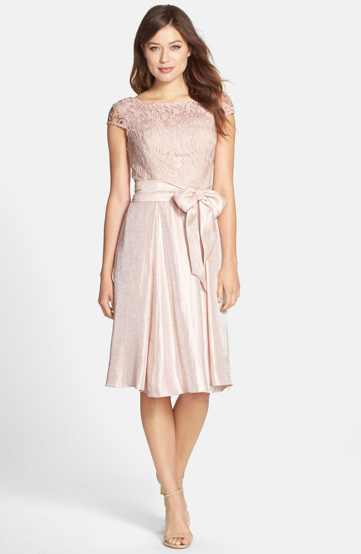 Adrianna Papell Mixed Media Fit Amp Flare Dress Nordstrom